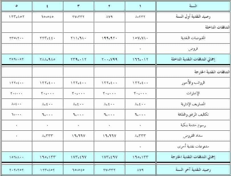 قائمة التدفقات النقدية المتوقع لخمس سنوات